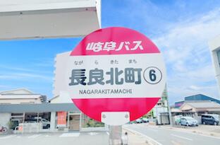 岐阜バスのバスターミナルより岐阜大学病院前行きに乗車し、長良北町で降車します。
